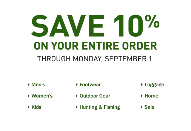 Save 10% on your entire order. Through Monday, September 1. Enter promo code LABORDAY at checkout