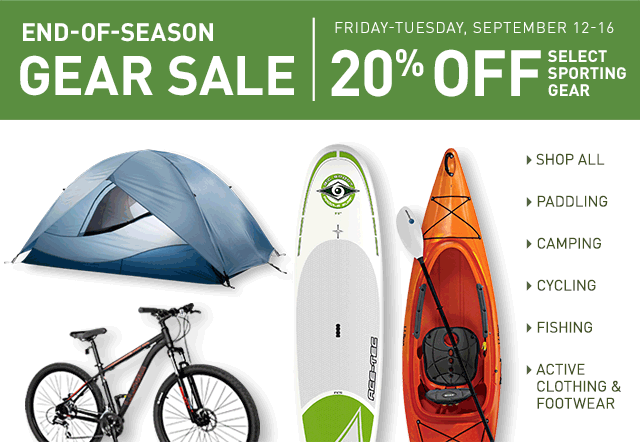End-of-season gear sale at L.L.Bean. September 12 to 16. 20% off select sporting gear.
