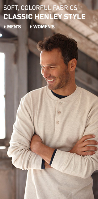 Soft, colorful fabrics in classic Henley style for men and women.