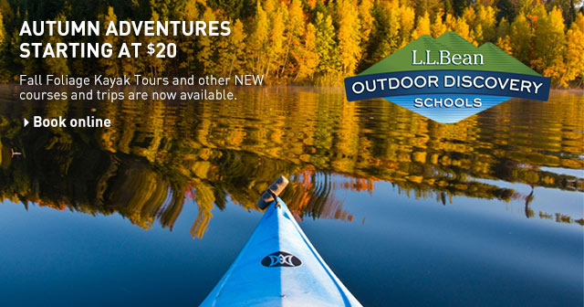 L.L.Bean Outdoor Discovery Schools autumn adventures. Fall Foliage Kayak Tours and other NEW courses and trips starting at $20.