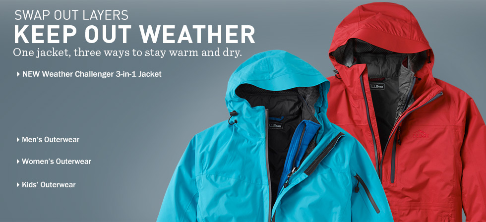 Swap Out Layers, keep out weather. One jacket, three ways to stay warm and dry. NEW Weather Challenger 3-in-1 Jacket at L.L.Bean.