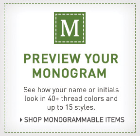 Preview your monogram. See how your name or initials look in 40+ thread colors and up to 15 styles.