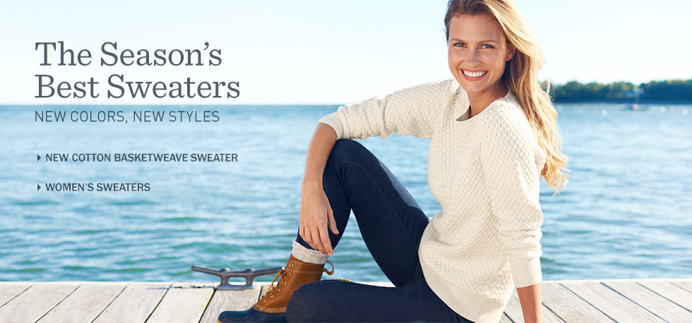 The season's best sweaters in new colors and styles. New women's cotton basketweave sweater.