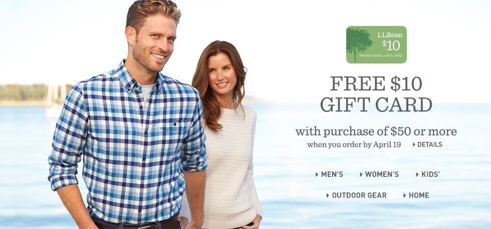 Free $10 gift card with purchase of $50 or more when you order by April 19