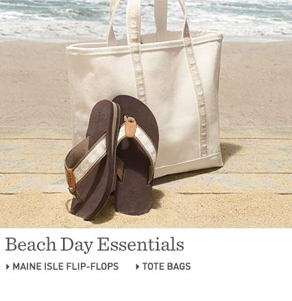Beach Day Essentials: Tote Bags at L.L.Bean. Beach Day Essentials: Maine Isle Flip-Flops at L.L.Bean.