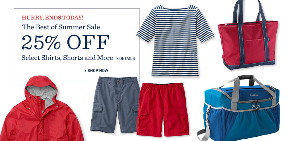 The Best of Summer Sale 25% OFF. Shirts, Shorts and So Much More. Ends Today.