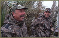 Bill and Mike Joyce, CEO of PrimaLoft, share a duck blind in South Texas, USA.