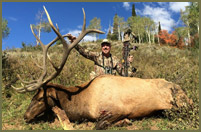 Hunting in Utah with his good buddy Chris Paradise from Mossy Oak, Bill harvests a monster bull elk with his bow. This magnificent animal scored a 340.