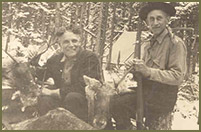 L.L. Bean with his good friend Louvie Swett after harvesting some magnificent caribou in Quebec's Gaspe, circa 1926. This was the only caribou L.L. ever took.