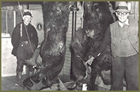 Leon Leonwood (top right) with a moose that he harvested in the fall of 1935.