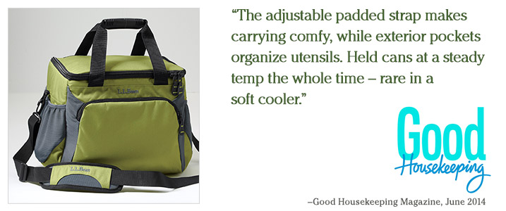 """The adjustable padded strap makes carrying comfy, while exterior pockets organize utensils. Held cans at a steady temp the whole time – rare in a soft cooler."" – Good Housekeeping Magazine, June 2014."
