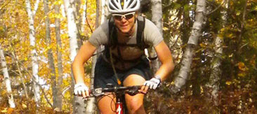 Mountain biking a Carrabassett Valley trail.