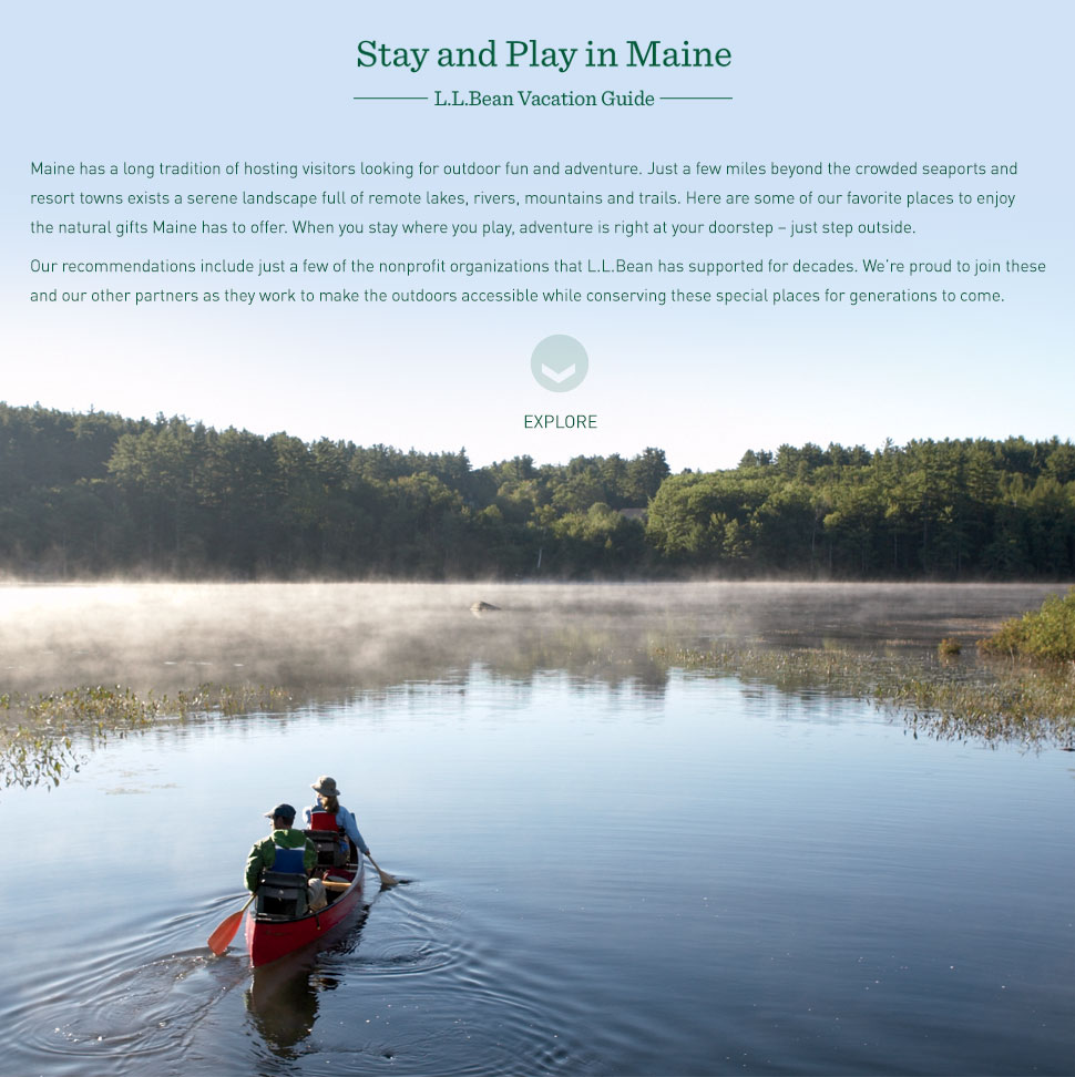 Stay and play in Maine. L.L.Bean vacation guide.