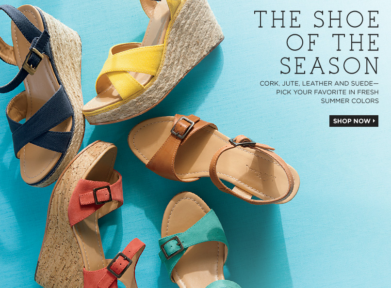 THE SHOE OF THE SEASON. Cork, jute, leather and suede—pick your favorite in fresh summer colors
